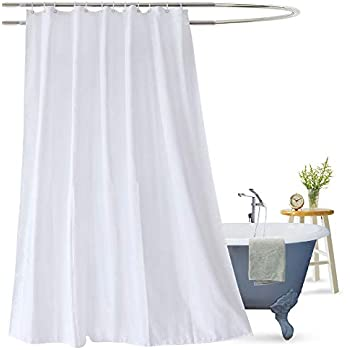 Aoohome White Fabric Shower Curtain Liner Mildew Resistant Bathroom With Hooks For Hotel Waterproof 72 X 75 Inch
