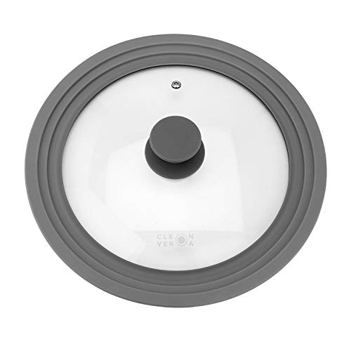 (Cleverona Clever Lid - Universal Pan Lid - Large fits 9.5/10/11 inch pans - Dark Grey)