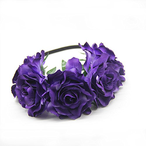 Scala 1PCS Women Lady Girl Bohemia Handmade Rose Flower Crown Wedding Wreath Bridal Headdress Headband Hairband Hair Band Accessories (Dark Purple)