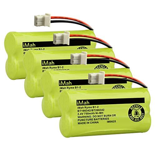 (iMah BT166342 Batteries Compatible with Vtech BT266342 BT183342 CS6114 CS6429 CS6719 AT&T EL52100 EL51203 DECT 6.0 Cordless Phone and Vtech DM221 DM221-2 Digital Audio Baby Monitor, Pack of 4)