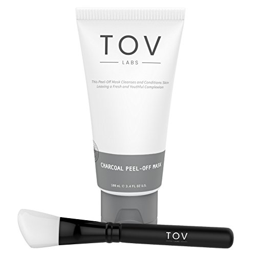 TOV LABS Activated Charcoal with Vitamin E, Deep Cleansing Peel Off Mask, Face and Nose. Removes Blackheads, Whiteheads, Dirt, and excess Oil. For Acne and Oil Control, All Skin Types, Vegan 100ml