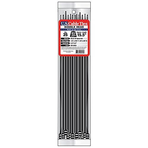 [해외]미국 케이블 타이 DH15B25 15 인치 더블 헤드 타이, UV 블랙, 25 팩/US Cable Ties DH15B25 15-Inch Double Head Ties, UV Black, 25-Pack