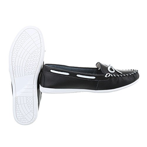 Ital-Design Women's Loafer Flats Flat Moccasins at Black 8118 PbILU8