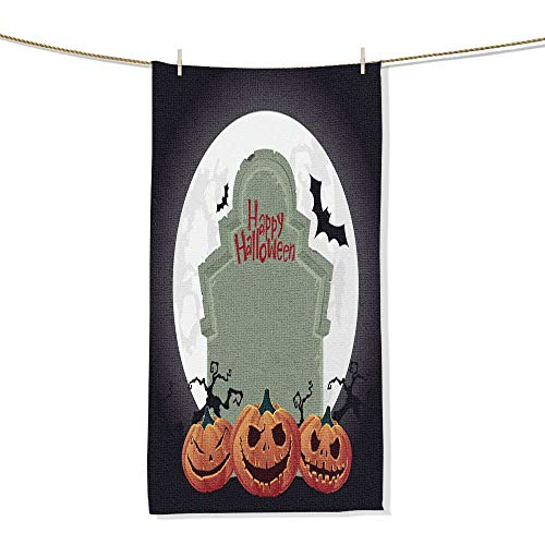 FootMarkhome Beach Towel Creepy Tombstone and Scary Halloween Pumpkin Vector Pool Towels Gift -Size:9.9