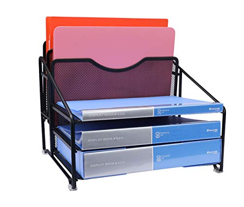 EasyPAG Mesh Desk Organizer Desktop File Holder with 3 Tier Letter Tray and 2 Vertical Compartment,Black by EasyPAG (Image #2)