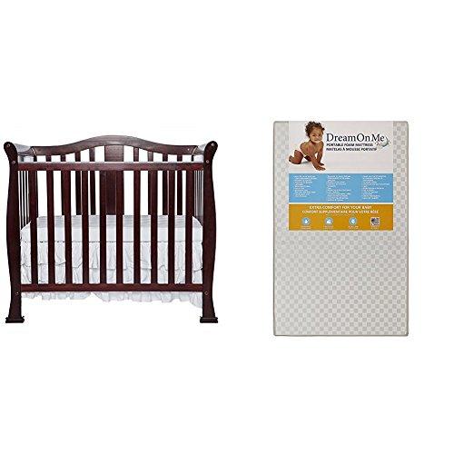 Dream On Me Naples, 4 in 1 Convertible  Mini Crib with Dream On Me 3 Portable Crib Mattress, White