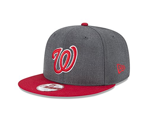 New Era MLB Washington Nationals Heather 9Fifty Snapback Cap, One Size, Graphite