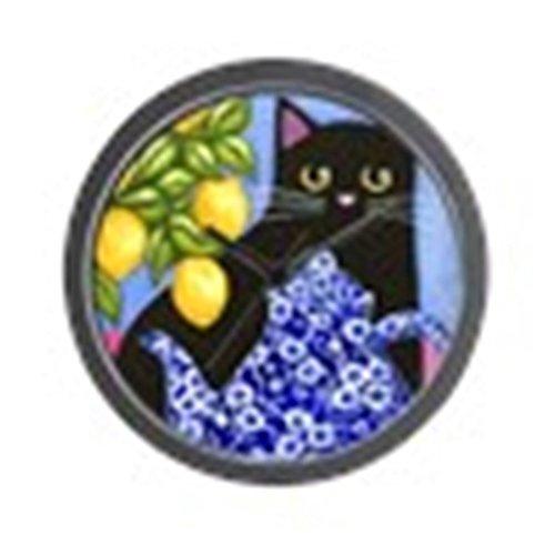 "CafePress - Black CAT Blue Calico Teapot & Lemons - Unique Decorative 10"" Wall Clock"