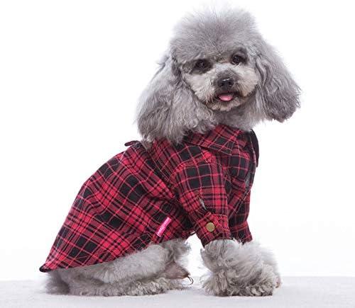ZDJR Camisa del Perro, Ropa de Polo de la Camisa del Polo del Animal doméstico Camiseta, Rejilla Adorable vistiendo Elegante Acogedor Cosecha, Disfraces de Navidad para Perros Cachorros Gatos,Red,16: Amazon.es: Hogar