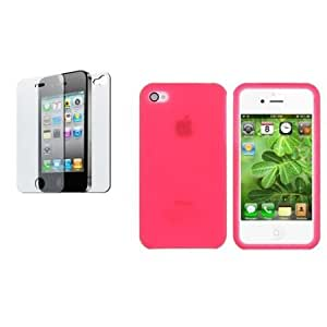 Cerhinu CommonByte Hot Pink Silicone Rubber Skin Soft Case Cover+Anti-Glare Film for iPhone 4 G 4S