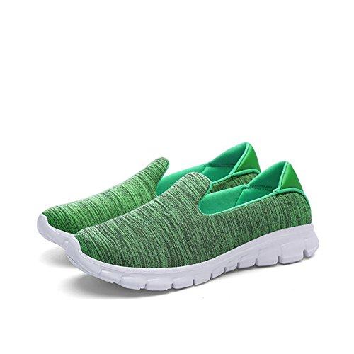 SHINIK Zapatillas de deporte de las mujeres que caminan del verano del talón de la cuña para el recorrido ocasional Zapatillas de deporte de los deportes del color puro respirable Segundo