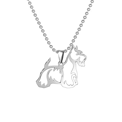 Scottish Terrier Collars (Stainless Steel Scottish Terrier Scottie outline Pet Dog Tag Breed Collar Charm Pendant Necklace)