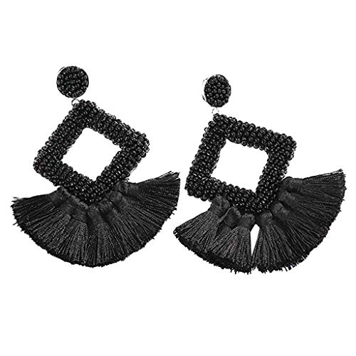 Tassel Earrings, Bohemia Round Dangle Drop Earrings Dangle Hook Eardrop for Women Girls Party Bohemia Dress Accessory (Black)