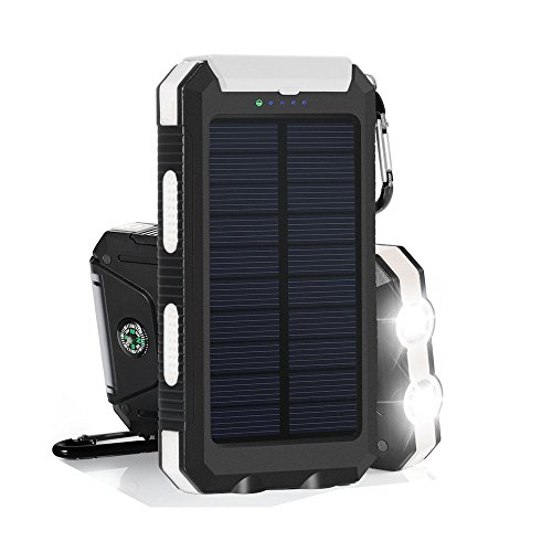 Portable Solar Charger Power Bank Hongro 20000mAh Emergency Dual USB Waterproof Solar Battery Bank Charger Power Bank Solar Panel Charger with Compass and 2LED Flashlight for iPhone iPad Samsung and Android Cellphones (Black+White)