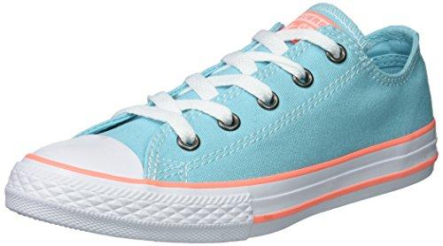 Converse Kids' Chuck Taylor All Star Seasonal Canvas Low Top Sneaker, Bleached Aqua/Crimson Pulse, 13 M US Little Kid