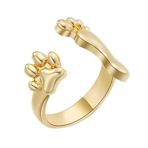 Solid 10K Yellow Real Gold Cute Bear Paw And Baby Footprint Shape Promise Ring 6