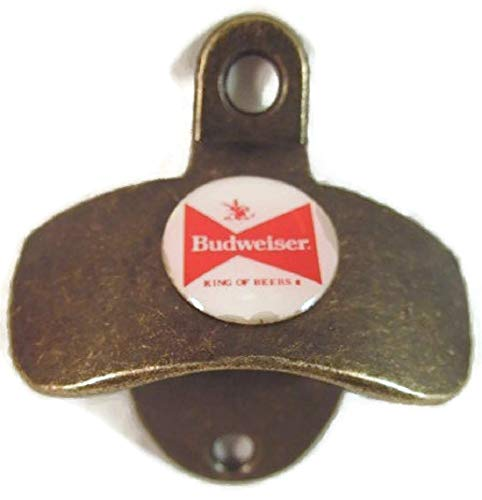 BUDWEISER BEER LOGO ON ANTIQUE BRASS FINISH METAL WALL MOUNTED BOTTLE CAP OPENER NEW