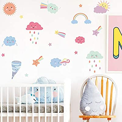 TOARTi Colorful Clouds Wall Decal, Cute Clouds with Tornado, Sun, Stars, Rainbow Wall Sticker, Multicolor Deal for Kids Room Decoration: Home & Kitchen