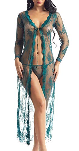 Maternity Lingerie Robe Long Lace Dress Sheer Gown Kimono Cover Up(Green, L)