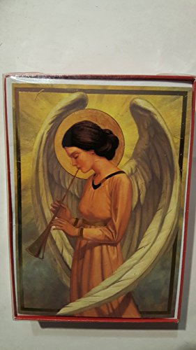 (Angel with large wrapped wings, halo, horn15 cards+envelopes VERSE Every angel sings a message of hope and harmony. May they be yours at Christmas time and throughout the year ahead.