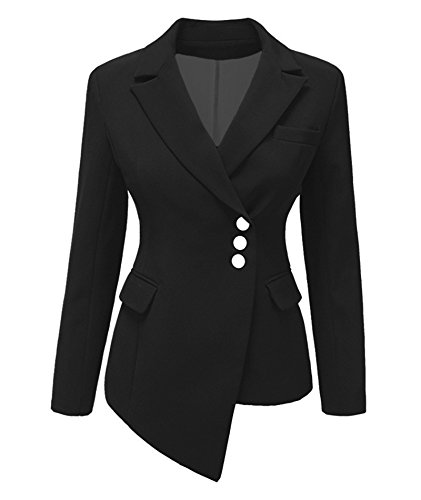Women Long Sleeve Slim Suit Jacket Coat Black - 3