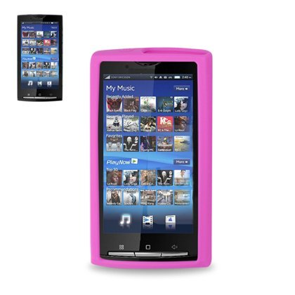 Fashionable Perfect Fit Soft Silicon Gel Protector Skin Cover (Faceplate/Snap On) Rubber Cell Phone Case for Sony Ericsson Xperia X10 - HOT PINK
