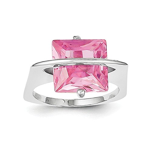 ICE CARATS 925 Sterling Silver 11mm Pink Cubic Zirconia Cz Band Ring Size 7.00 Fine Jewelry Ideal Mothers Day Gifts For Mom Women Gift Set From Heart (Heart Pink Ice Ring)