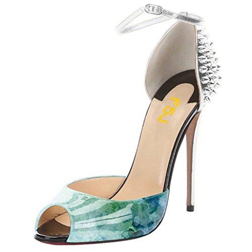 FSJ Women Ankle Strap D'Orsay High Heel Pump Peep Toe Stiletto Shoes With Rivets Size 4-15 US Silver-multi sneakernews for sale under $60 sale online ty9z9