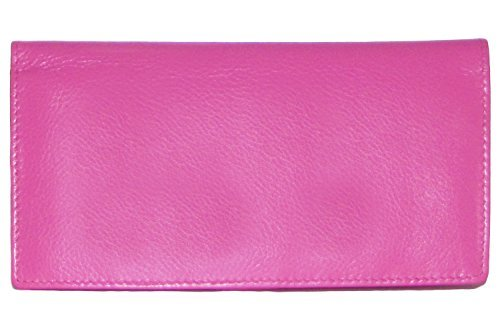 Ili Leather Checkbook Cover with Pen Holder Hot Pink by ili