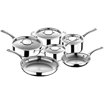 Bergner Tri-ply Clad 10-piece Stainless Steel Cookware Set with Even Heat Distribution and Superior Heat Retention,Oven and Dishwasher Safe