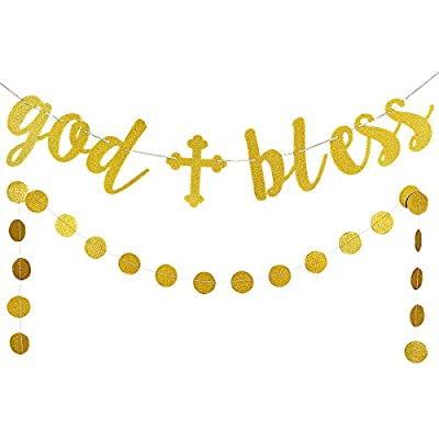 Gold Glittery God Bless Banner and Gold Glittery Circle Dots Garland (25pcs circle dots) -Baptism Banner,Communion Party Banner,Baptism Decorations for Wedding, First Communion