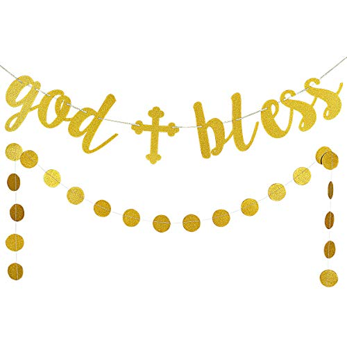 (LeeSky Gold Glittery God Bless Banner and Gold Glittery Circle Dots Garland (25pcs Circle dots) -Baptism Banner,Communion Party Banner,Baptism Decorations for Wedding, First)