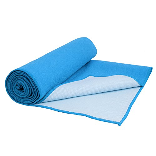 2 in 1 Yoga Mat Towel AmoVee Non Slip, Sweat Absorbent Microfiber Hot Yoga Mat Towel for Bikram, Yoga, Pilates, Fitness Machine Washable