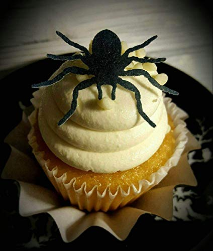 Edible Halloween Black Spider Cupcake Toppers Set of