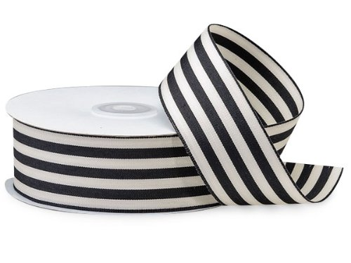 BLACK Cabana Stripes Ribbon1-1/2