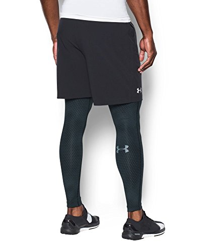 Under Armour Men's HeatGear Armour Printed Compression Leggings, Black/Steel, Small by Under Armour (Image #3)