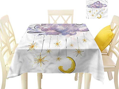 (WilliamsDecor Dinning Table Covers Astrology,Hanging Moon and Stars Small Tablecloth W 70