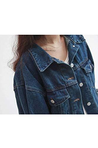Fille avec Automne BOLAWOO Longues Vestes Printemps Large Boucle Mtallique Jeune Blouson Blau Outwear Manches Jean Femme Revers Bleu Jeans Chic lgant Mode f7U7Fg