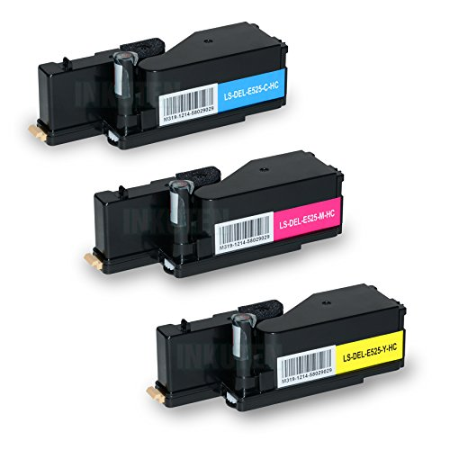3PK DELL E525W Series High Yield Toner Cartridges - 1 Cyan, 1 Yellow, 1 Magenta - Compatible - For Dell E525w by INKUTEN ©