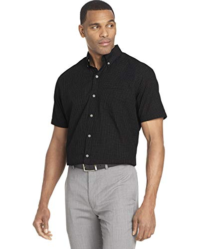 Van Heusen Men's Wrinkle Free Short Sleeve Button Down Check Shirt, Black Minicheck, Small from Van Heusen
