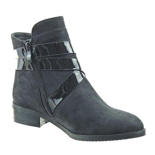 Sopily - damen Mode Schuhe Stiefeletten Schleife Linien Patent - Schwarz