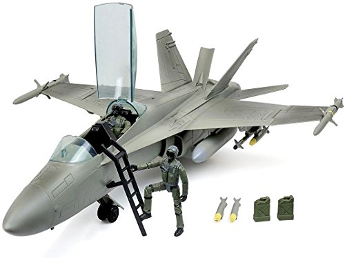(Click N' Play Military Air Force F/A 18 Super Hornet Fighter Jet, 16 Piece Play Set with Accessories.)