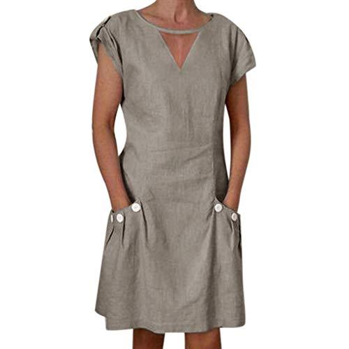 ✔ Hypothesis_X ☎ Women's Short Sleeve Button Mini Dresses Linen V Neck Mini Dress Evening Party Dress with Pocket Khaki