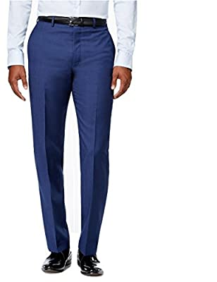 Calvin Klein Slim Fit Blue Solid Wool Flat Front New Men's Dress Pants