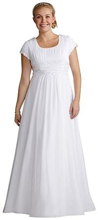 David\'s Bridal Short Sleeve Chiffon Plus Size Wedding Dress Style ...