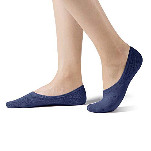 Navy Combo - SHEEC SoleHugger ACTIVE X MID-CUT - Reinforced Antibacterial No Show Socks for Women - Guaranteed Non-Slip - Navy Grey Combo(US Shoe 10-11.5) 4 pairs