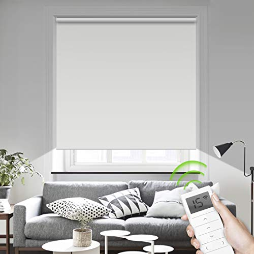 Motorized Smart Blinds Remote Control Window Roller Shade Wireless Rechargeable -100% Blackout Window Shades for Office Restaurant Customized Size (White) (Motorized Roller)