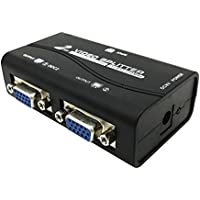 Whizzotech 1 PC to 2 Monitor(1 VGA in, 2 VGA out) 2 Port VGA SVGA Video LCD Switch Splitter Box Adapter w/ USB Power