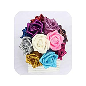 Pink-star 50pcs/lot Glitter Foam PE Artificial Flowers Rose Head Real Touch Gorgeous Shiny Home Wedding Party Decorative Flowers 117