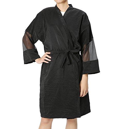 Unisex Black Salon Bathrobe, LuckyFine Waterproof Cape Kimono Robe / Gown Lightweight...
